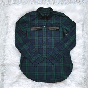 J. Crew Green Plaid Beaded Tunic Shirt